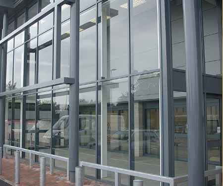 Curtain wall. Aluminium is used to provide a light weight ...