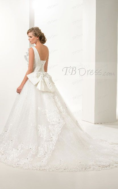 Perfect Glamorous Crystal Bowknot Court Train One Shoulder Ball Gown Wedding Dress