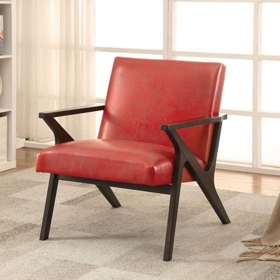 Furniture Of America Zelina Modern Leatherette Accent Chair By
