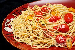 Culinary Art - Garlic Pasta And Grape Tomatoes  by Andee Design