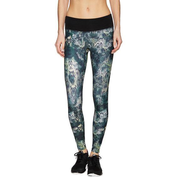 Prismsport Prismsport Women's Animal Print Athletic Legging - Size L ($49) ❤ liked on Polyvore featuring pants, leggings, multi, mesh-panel leggings, knit leggings, knit print leggings, legging pants and print leggings