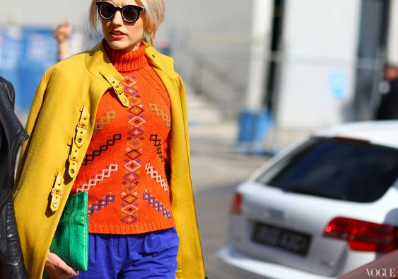 Australian Fashion Week - love the stitchery on the sweater and the colour combo