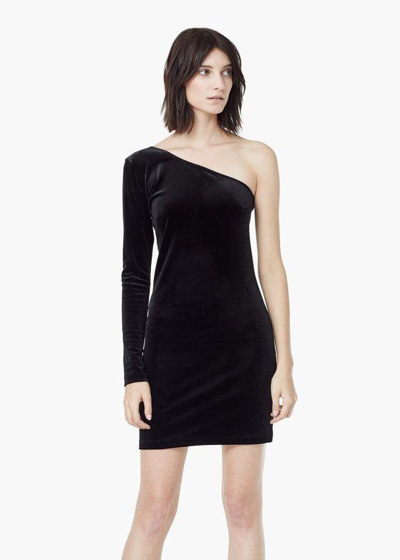 Robe en velours noir asymétrique
