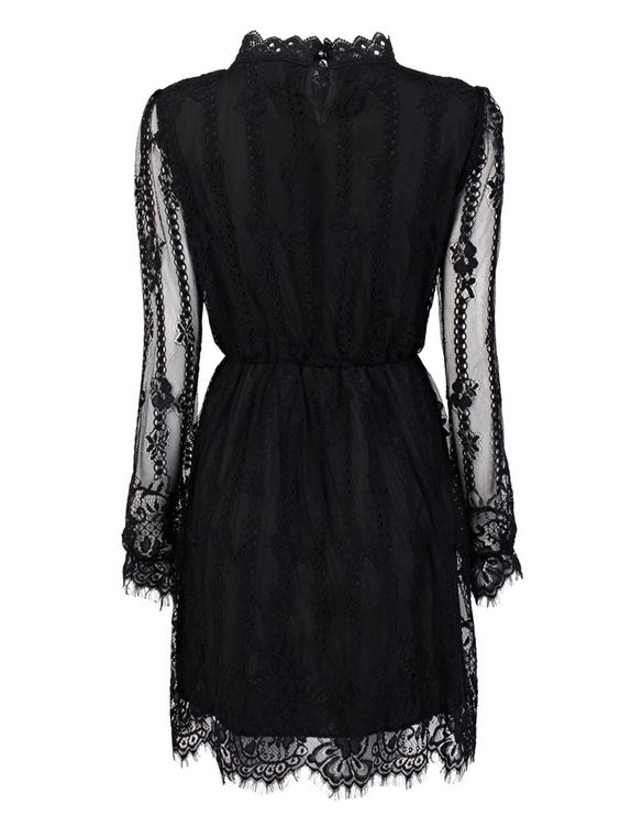 Elegant Elastic Waist Long Sleeve Pleated Stand Collar Mini Lace Dress Online