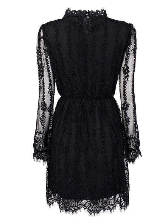 Elegant Elastic Waist Long Sleeve Pleated Stand Collar Mini Lace Dress Online
