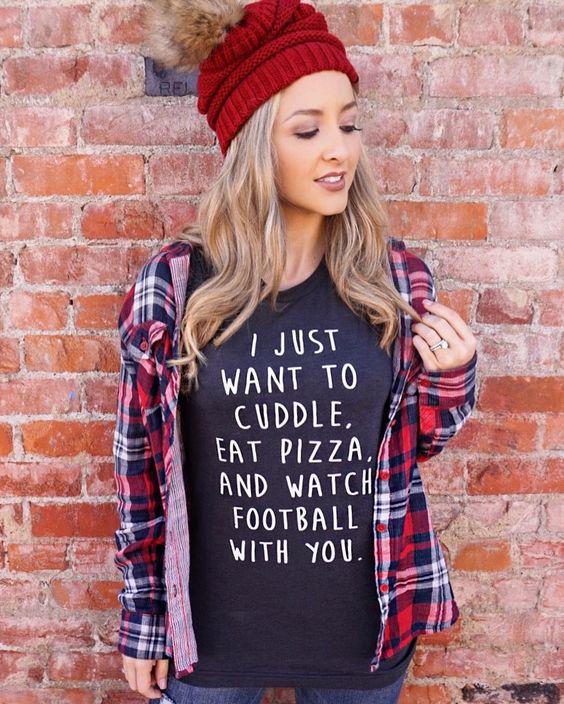 Cuddle,+Pizza+and+Football+–+Dark+Gray+Tri-Blend+Tee