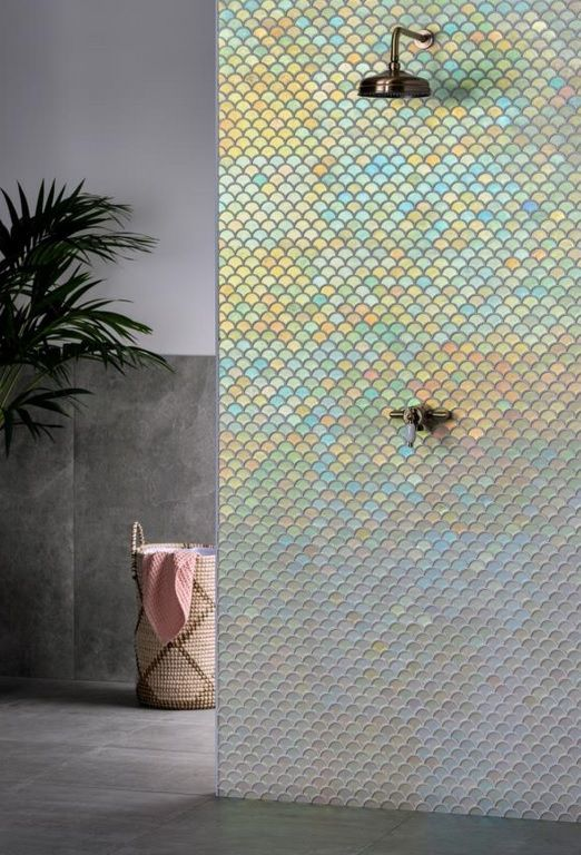 Pearl Scale Mosaic Is A Scallop Shaped Interlocking Glass Mosaic Made From Recycled Glass Wit Gold Tiles Bathroom Iridescent Tile Bathroom Shower Tile Designs