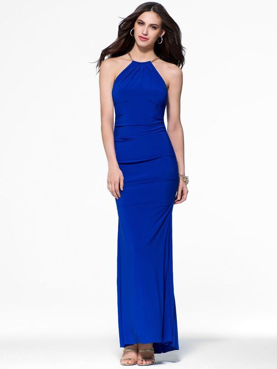 Details about CACHE NWT Sexy Cobalt Blue Gold Chain Halter Gown ...