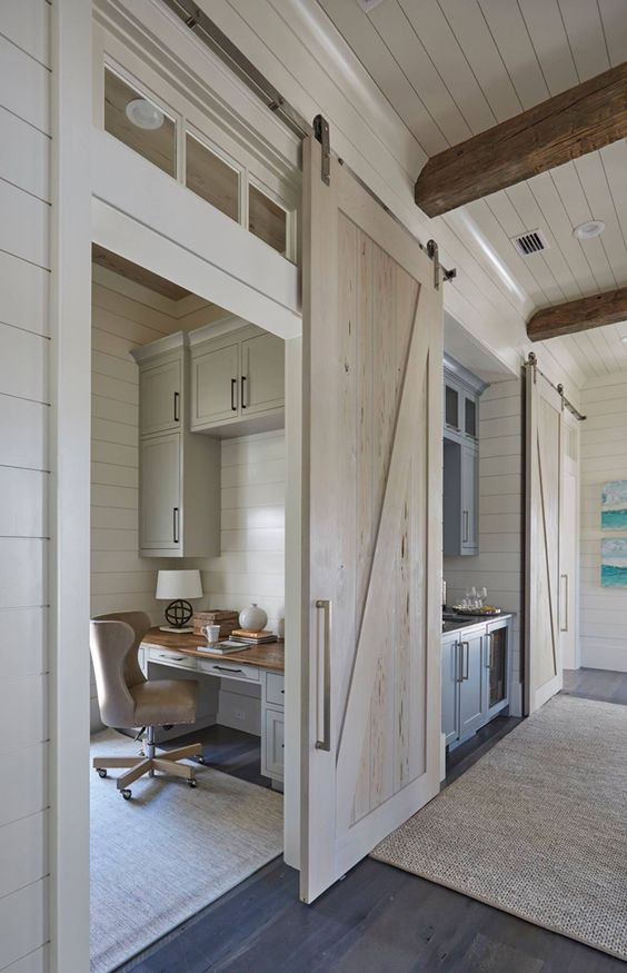 home office with sliding barn door office inspiration