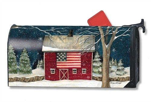 This Wintery Looking Mailbox Cover Shows An Old Red Rustic Barn With An American Flag Hanging On T Mailbox Covers Magnetic Mailbox Covers Mailbox Accessories