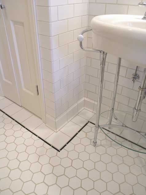 Bathroom tour from bungalow tile hexagons bathroom White border tiles bathrooms