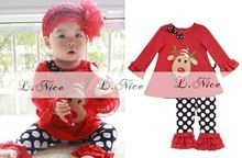 wholesale-Children's Clothing Christmas girls set long sleeve shirt top + leggings 2 pcs clothing outfit suit set(China (Mainland))