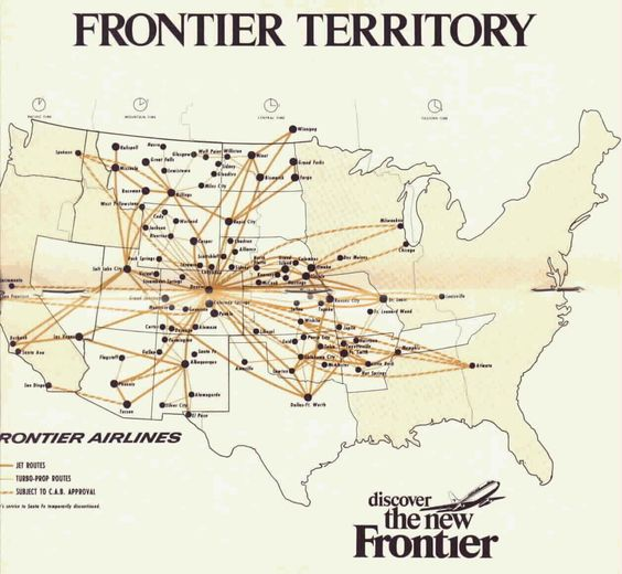 FL's 1977 route map. PreDeregulation. Airlines Pinterest