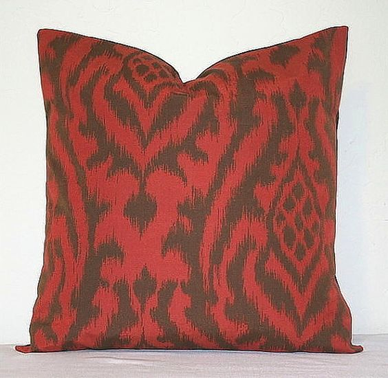 Red Orange and Brown Ikat 18 inch Decorative Pillows Accent Pillows Throw Pillow Cushion Covers ...