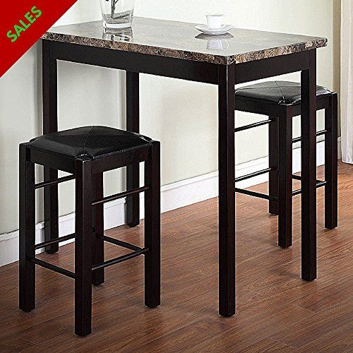 Table With 2 Stools Underneath 3 Pieces Space Saver Set Of