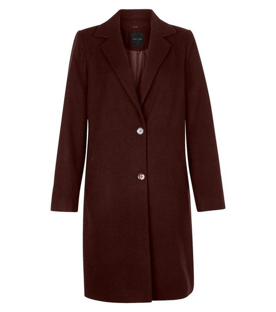 Burgundy Longline Coat  | New Look
