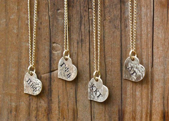 Sorority necklace gold heart sorority jewelry big sis for Sorority necklaces letters