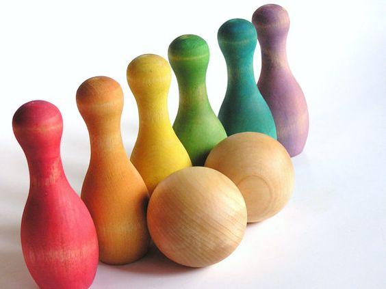 Waldorf/ Montessori inspired rainbow wood bowling set from Apple n Amos.