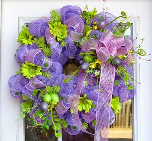 Lavender and Lime Easter Spring Mesh Wreath