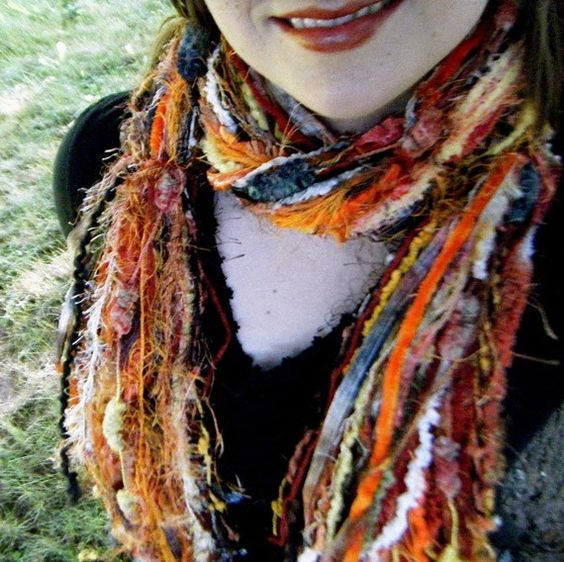 Thanksgiving Accessories Scarf Orange Black by CricketsCreations,