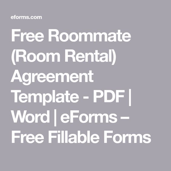 Free Roommate (Room Rental) Agreement Template - PDF Word - room rental agreements