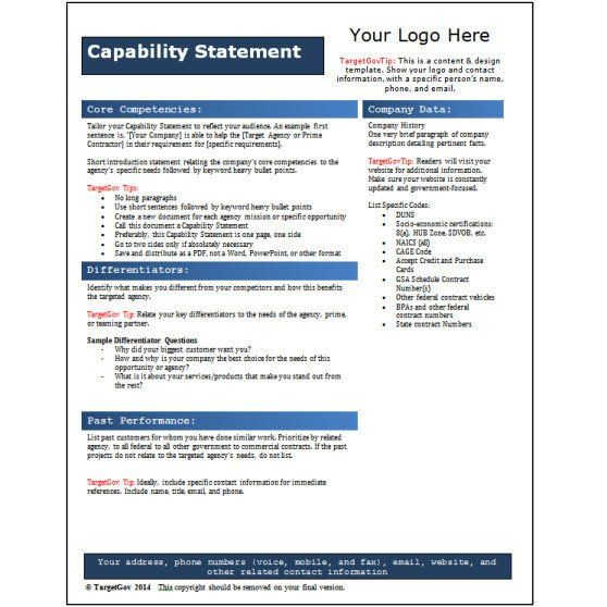 28 Capability Statement Template Free In 2020 Statement Template