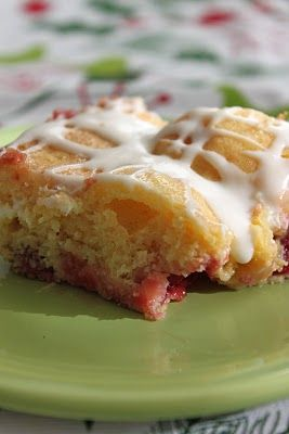 Baked Perfection: Cherry Almond Coffee Cake with Cream Cheese Glaze