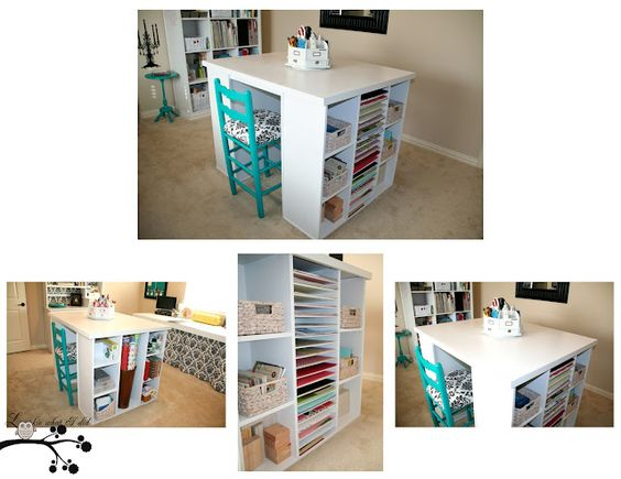 My Craft Island - PB Knockoff...with scrapbook paper shelves