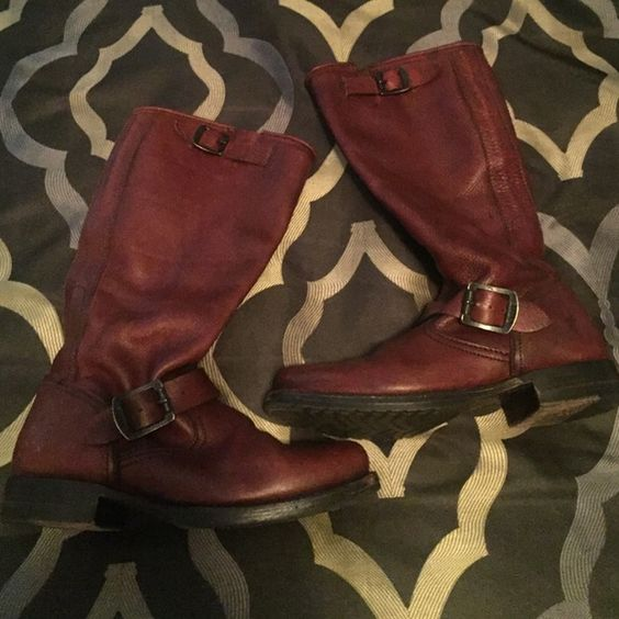 Frye Veronica Slouch Never worn, great condition Veronica slouch boot. Brown boots, double buckle. Frye Shoes Combat & Moto Boots