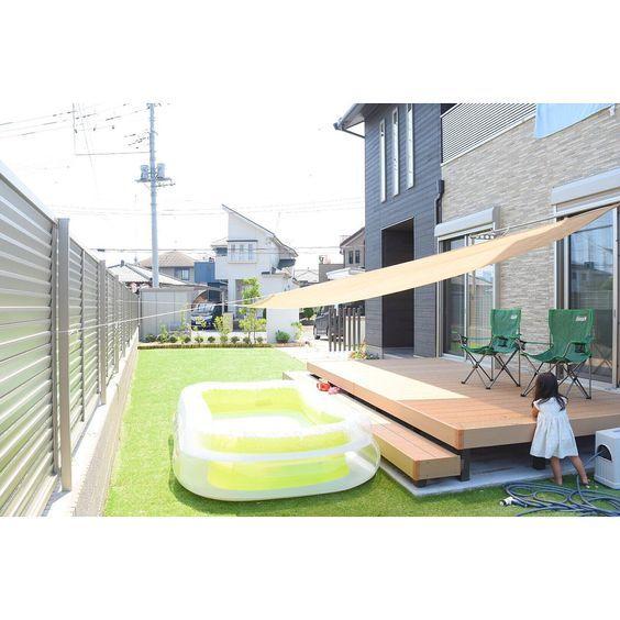 部屋全体 コールマン お庭プール プール 庭 などのインテリア実例