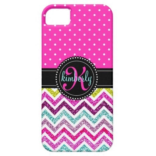 Elegant Faux Glitter Pink Dots Girly Chic Custom iPhone 5 Cases