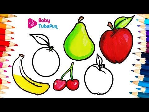 How To Draw Fruits And Vegetables And Colouring Dresses For