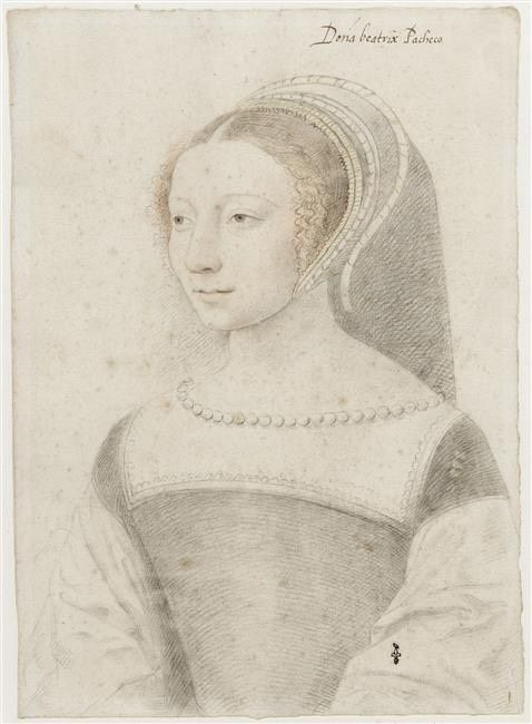 Dona Beatrix Pacheco d'Ascalana comtesse d'Entremont dame de Montbel de Piémont by Jean Clouet (Musée Condé - Chantilly, Picardy France)   Grand Ladies   gogm