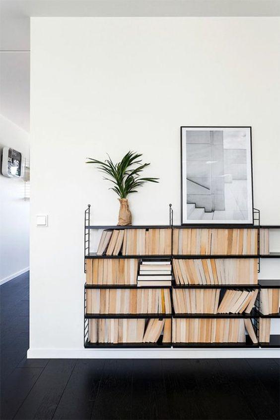 une belle variante d'étagère en fer forgé noir, mur blanc, peinture murale, plante verte
