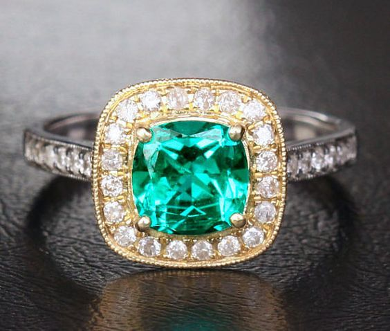 Real 14K Two Tone Gold 7x7mm Emerald  .42ct Diamond by 4YOURSELF, $590.00