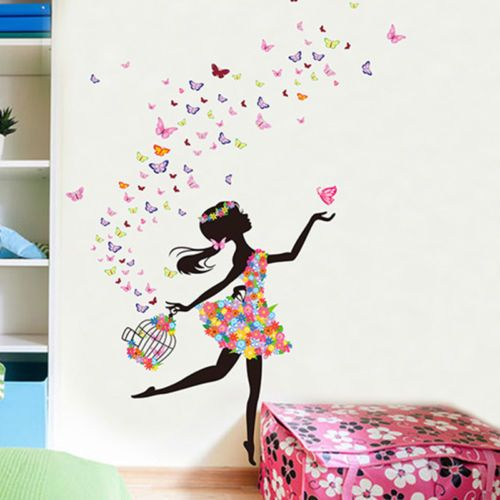 Cute Diy Lovely Girl Art Wall Stickers For Kids Rooms Pvc Wall