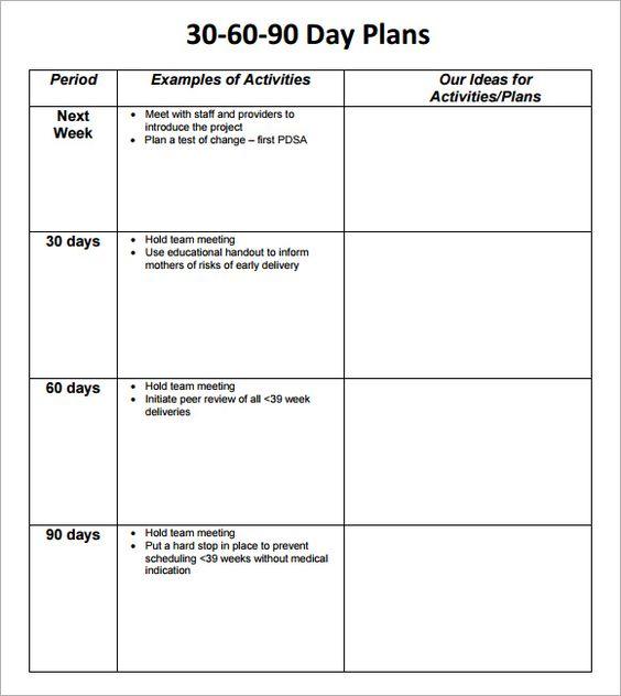 Sample 90 Day Plan Template RMartinezedu Pinterest Template - performance improvement template
