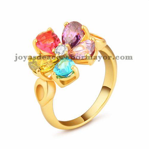 anillo con cristal colores de oro rosado en acero para mujer-SSRGG11474