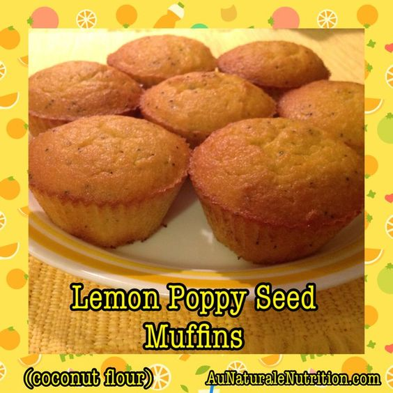 Lemon Poppy Seed Muffins. Moist and delicious! Made with coconut flour ...