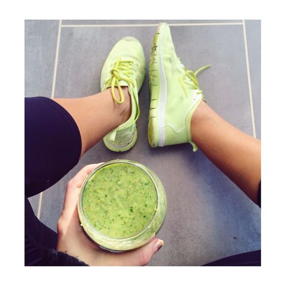 Run completed. @emshelx kicks back with her super green smoothie. #MissguidedActive