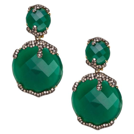 Green Agate White and Cognac Diamond Yellow Gold Earrings | From a unique collection of vintage drop earrings at https://www.1stdibs.com/jewelry/earrings/drop-earrings/