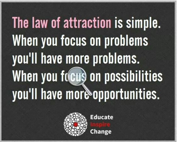 The Law of Attraction is simple. When you focus on problems - you'll have more problems. When you focus on possibilities - you'll have more opportunities.