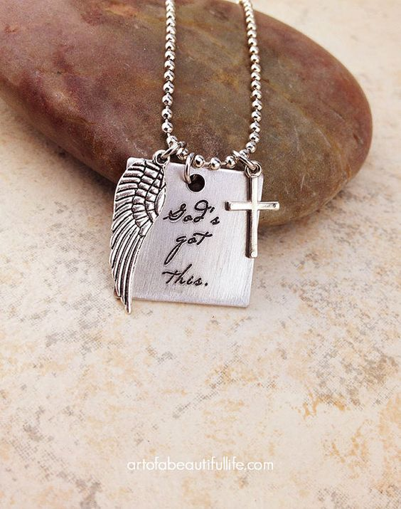 A reminder when things just get too tough that He's got this. He's already there, and it's going to be OK. We're going to be OK. We can rest under the wings of the Almighty and find refuge and peace. | God's Got This Christian Necklace by simplytopaz on Etsy