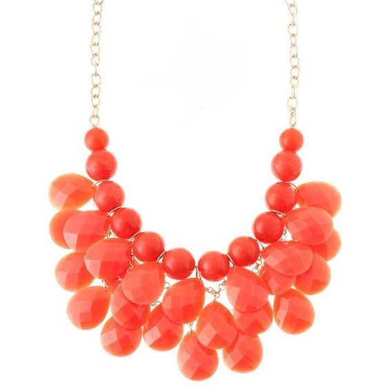 Coral Cluster Statement Necklace found on Polyvore