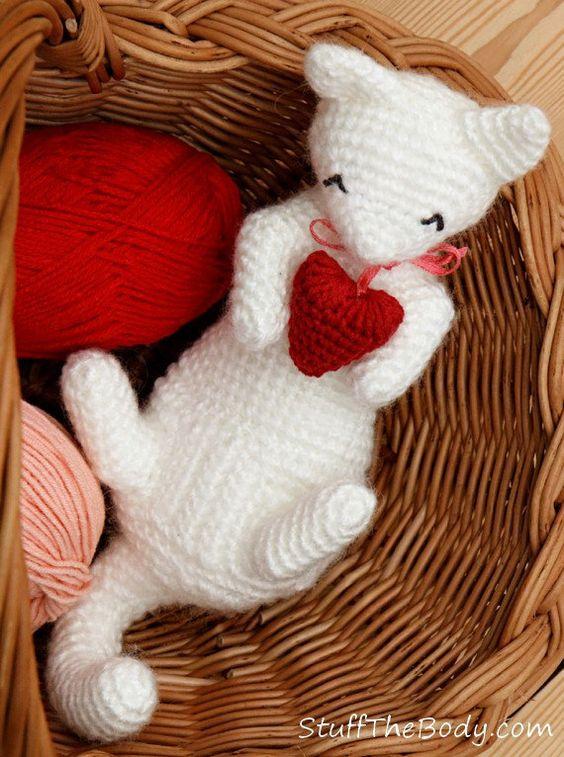 Cat Crochet Pattern Cat Amigurumi Pattern Valentine's Day by StuffTheBody on Etsy, $5.00