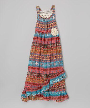 Love this Coral Tribal Crochet Maxi Dress - Girls by Zunie & Pinky on #zulily! #zulilyfinds