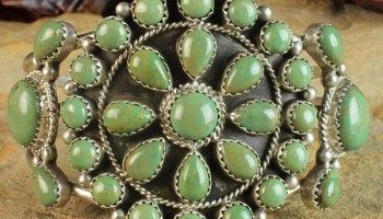 Amazing Green Turquoise Cluster Navajo Sterling Silver Bracelet by Roberta Begay