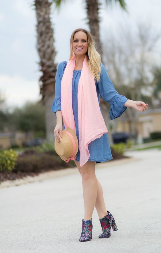 Denim Ruffle Sleeve Dress & Printed Booties