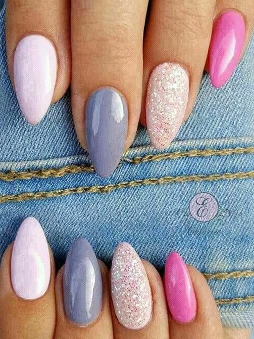 Almond Nails Spring Nails Acrylic Nails Pink Glitter Nails