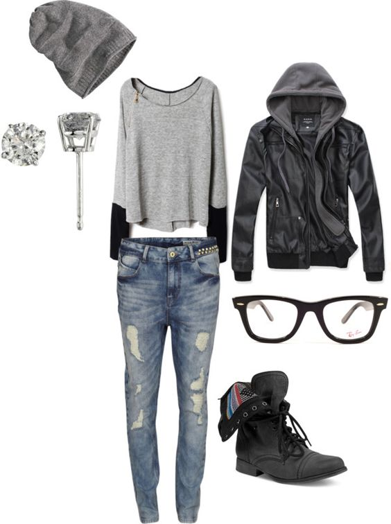 Boots. I need big boots- Leather hooded jacket, biker boots, geek glasses, grey slouchy top, beanie hat & ripped denim